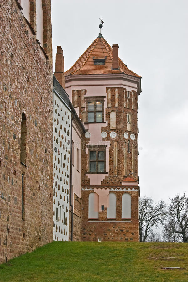 Download Tower of the castle in Mir stock photo. Image of bridge - 23613446