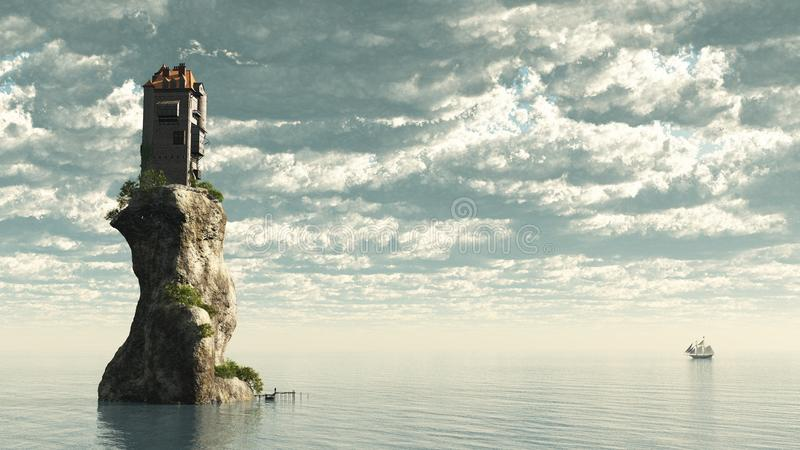 Tower Castle on Rock royalty free illustration
