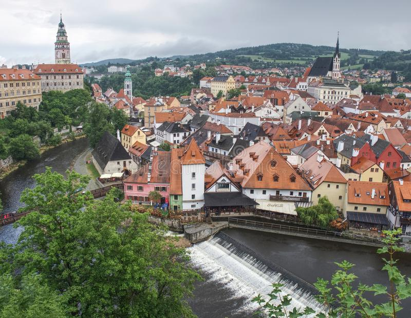 Tower of castle and rooftops in old town of Cesky Krumlov stock images