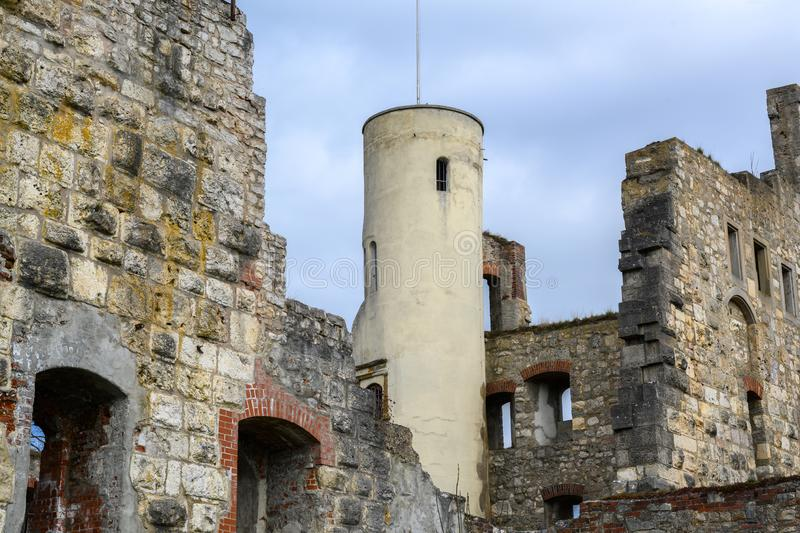 Tower in the castle ruin Hellenstein on the hill of Heidenheim an der Brenz in southern Germany against a blue sky with clouds,. Copy space stock image