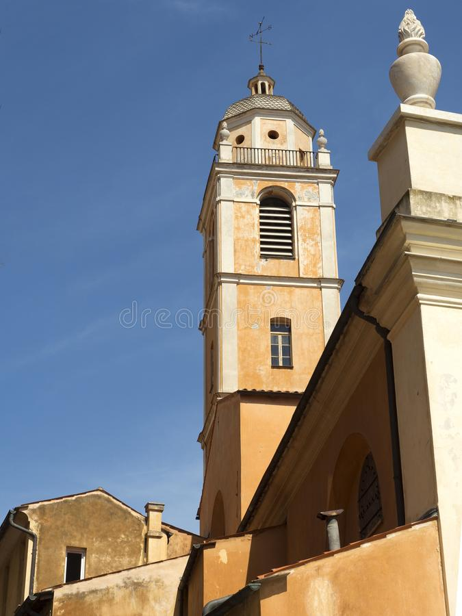 Tower of the Cathedral of Ajaccio. Exterior facade Cathedral of Our Lady of the Assumption, Ajaccio. France royalty free stock images