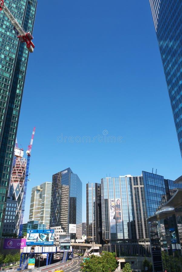 La Defense business district Skyscrapers Cranes France stock image