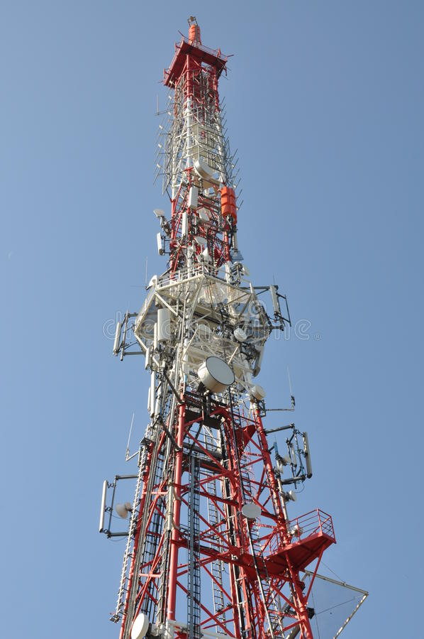 Tower With Cell Phone And Radio Antenna Stock Photography
