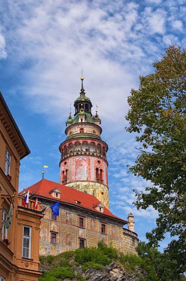 Tower in Cesky Krumlov Castle, Czech republic. Sunny summer day. UNESCO World Heritage Site royalty free stock photo
