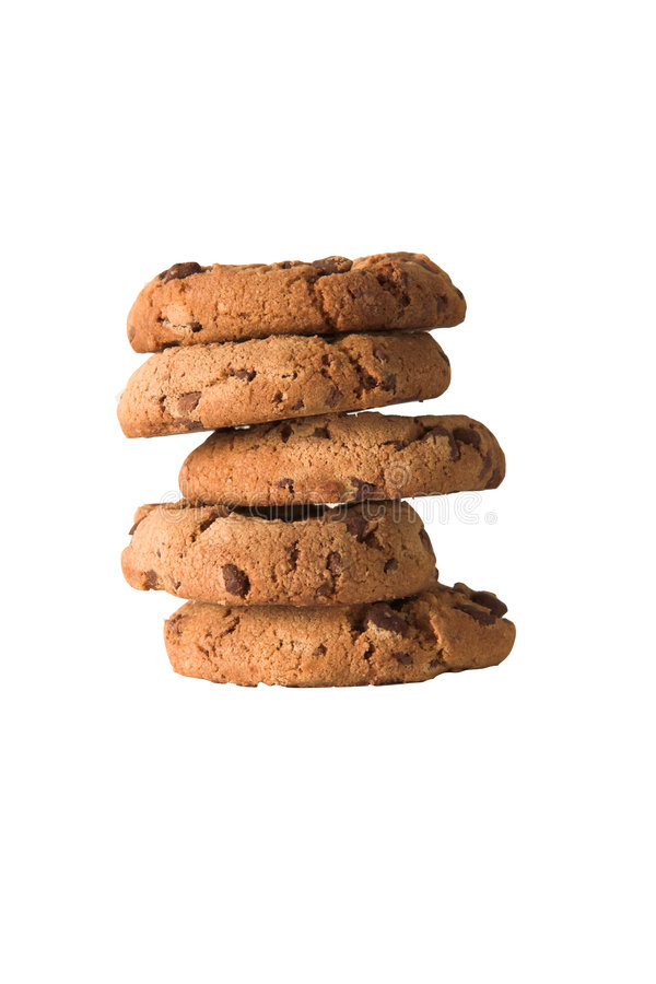 Tower of Choc Chip Biscuits stock photo