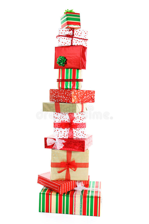 Download A tower of Christmas gifts stock image. Image of wrapping - 11266431