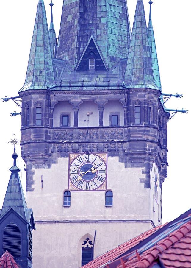 Tower of church city Presov, Slovakia royalty free stock image