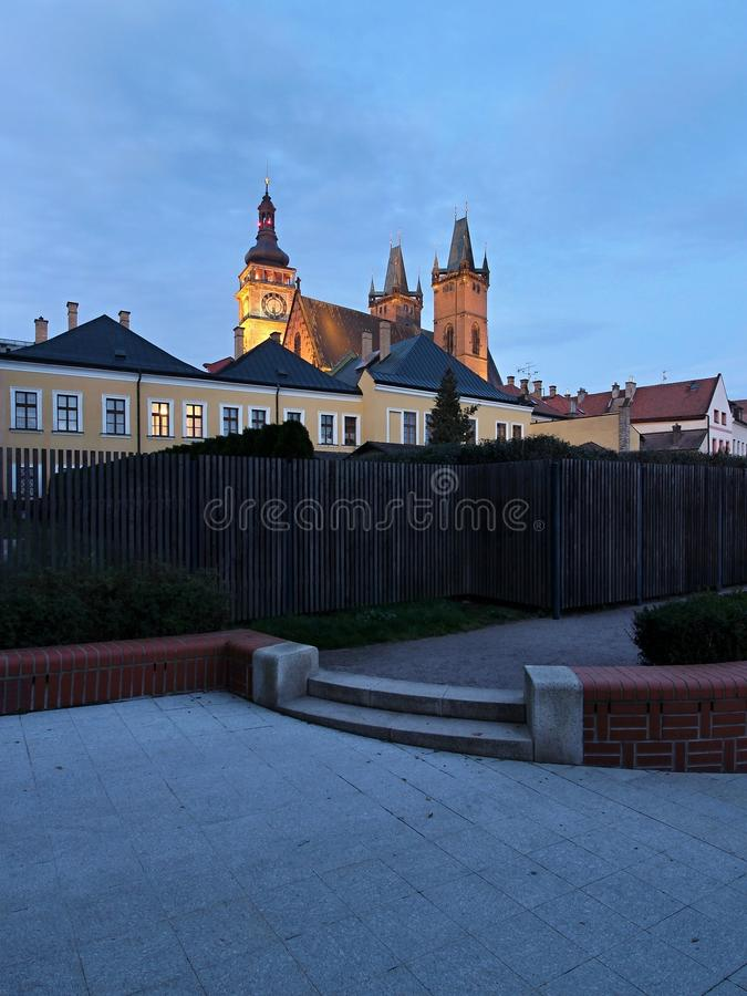 Tower and the Church in Hradec Kralove. White Tower and the Church in Hradec Kralove / Czech Republic stock photo