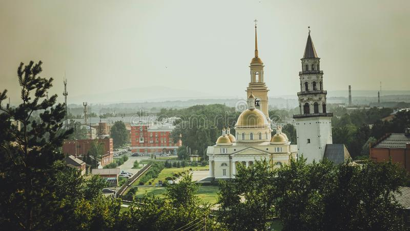 Tower and Church landscape on the street in Russia in summer. Landmark place royalty free stock photo