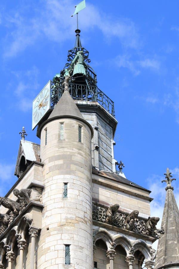 Tower of Church of Notre-Dame, Dijon, France stock photos