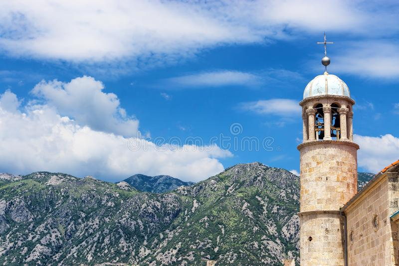 Tower of Church of Our Lady of the Rocks, Perast, Montenegro stock images
