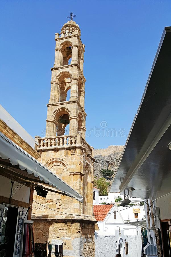 Tower of Church of Panagia in Lindos royalty free stock photo