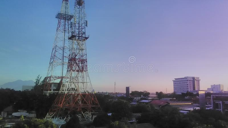 Tower city television. Television tower at surabaya city, Indonesia stock photography