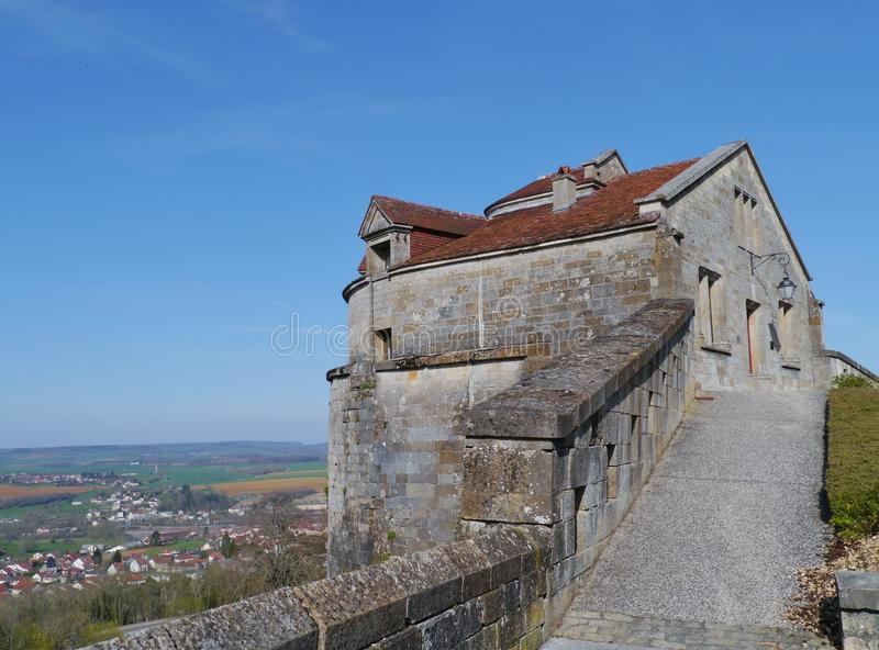 Tower of the city wall in Langres in France. The historic St John's or St Gengoulph tower was a artillery tower and also a military pigeon loft for the stock images