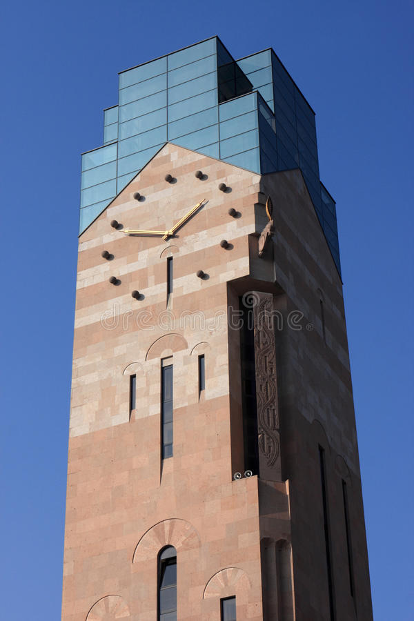 Tower with clock. The tower with a clock in Yerevan, Armenia stock image