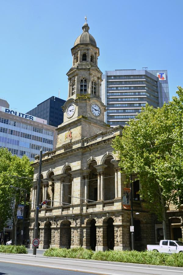 Tower clock of Adelaide Town Hall on King William Street. Adelaide, Australia – January, 2016. Tower clock of Adelaide Town Hall on King William Street royalty free stock photo