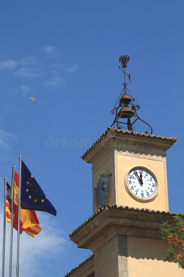 Tower clock. The tower clock on the building in the Palma de Mallorca. Mallorca, Spain stock photos