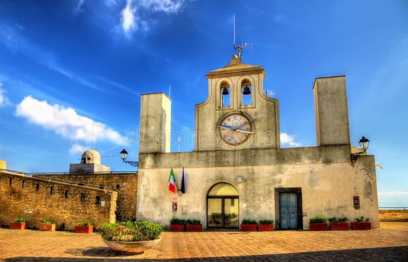 Tower clock on Castel Sant'Elmo in Naples. Italy royalty free stock photos