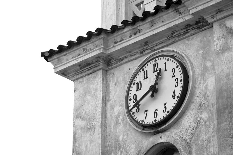Tower clock closeup. Image of a church tower clock in black and white stock images