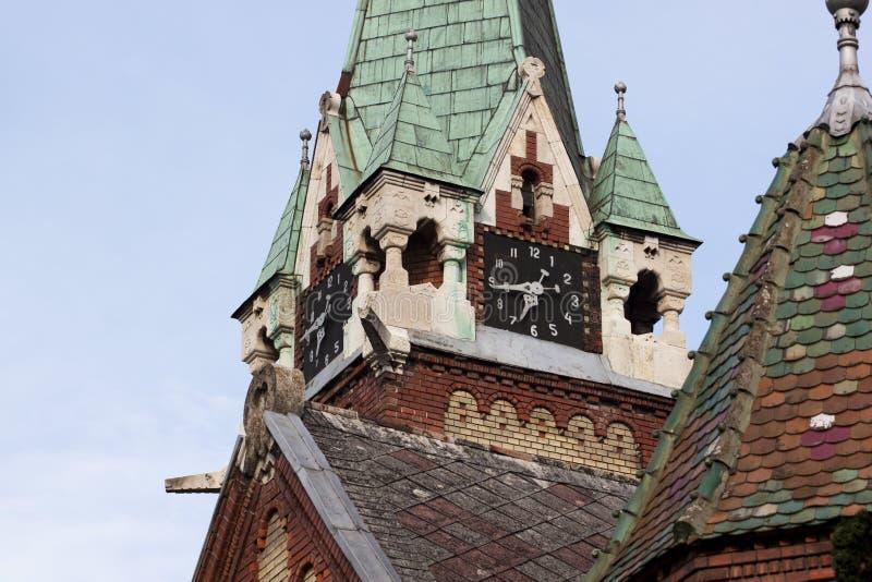 Tower clock in Deva. Tower clock of reformed church in Deva royalty free stock photography