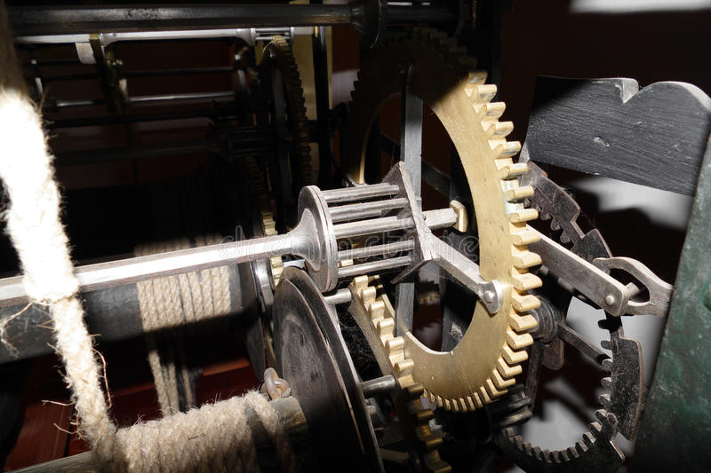 Tower clock engine. Incredible ancient tower clock engine stock image
