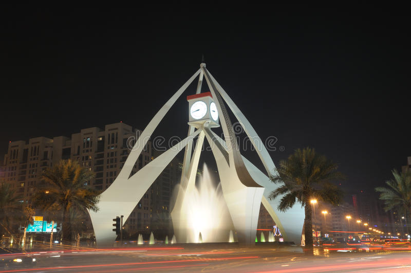 Tower Clock Roundabout, Dubai. Tower Clock Roundabout in Dubai, United Arab Emirates royalty free stock photos