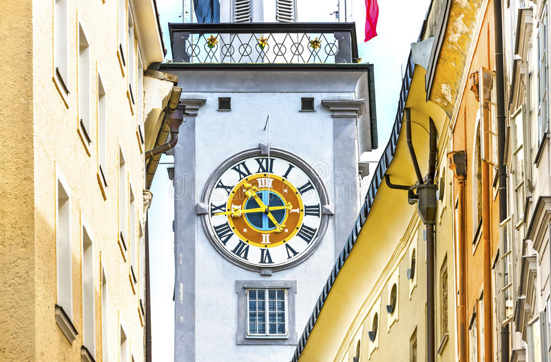 Tower clock in Salzburg, Austria. Tower clock with roman numbers in Salzburg Austria royalty free stock photography