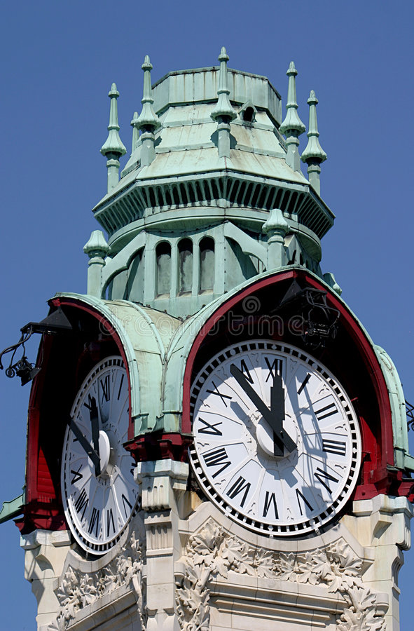Tower-clock Of The Station In Rouen Stock Images