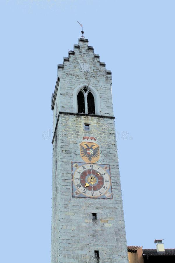 Tower. With clock in Sterzing in northern Italy royalty free stock photo