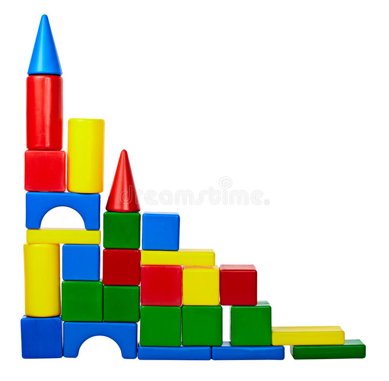 Tower of color toy blocks stock images