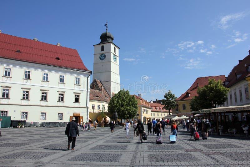 Tower of Council and Big Square in Sibiu, Romania Turnul Sfatului si Piata Mare stock photography