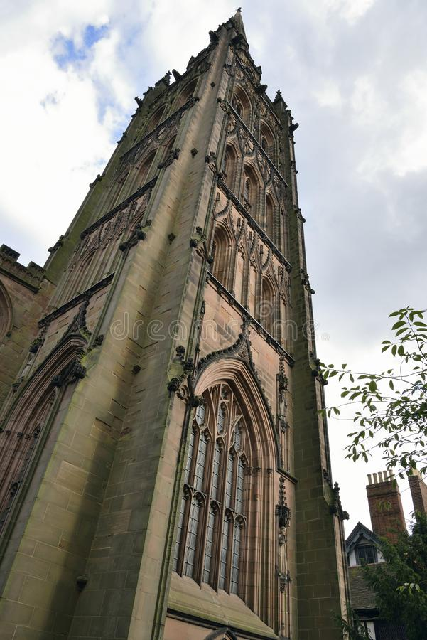 Tower of Coventry Old Cathedral. Most of the Cathedral was destroyed duing WW2 royalty free stock photos