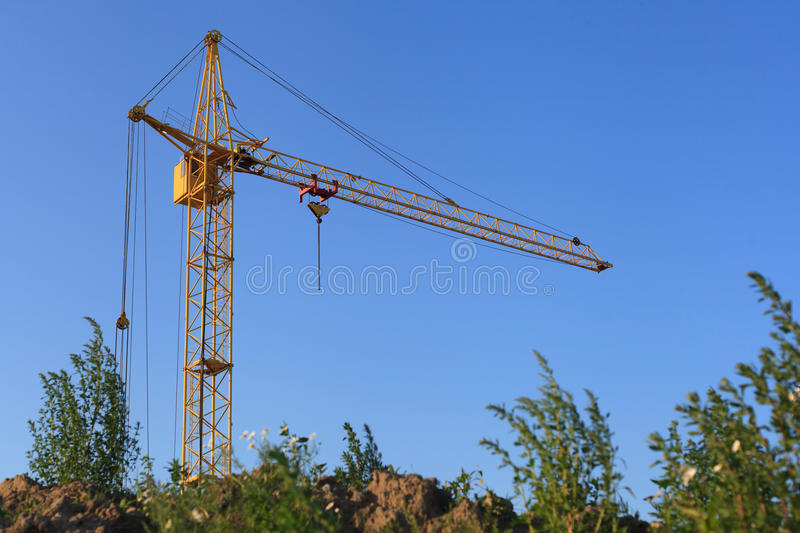 Tower crane. Blue sky stock photo