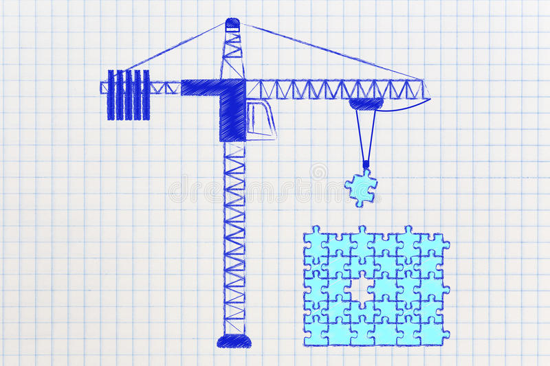 Tower crane about to add missing piece to a puzzle, business sol stock illustration