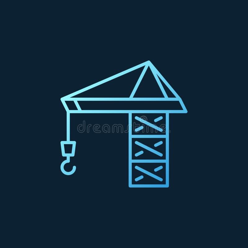 Tower Crane vectorblauw lineair pictogram op donkere achtergrond royalty-vrije illustratie