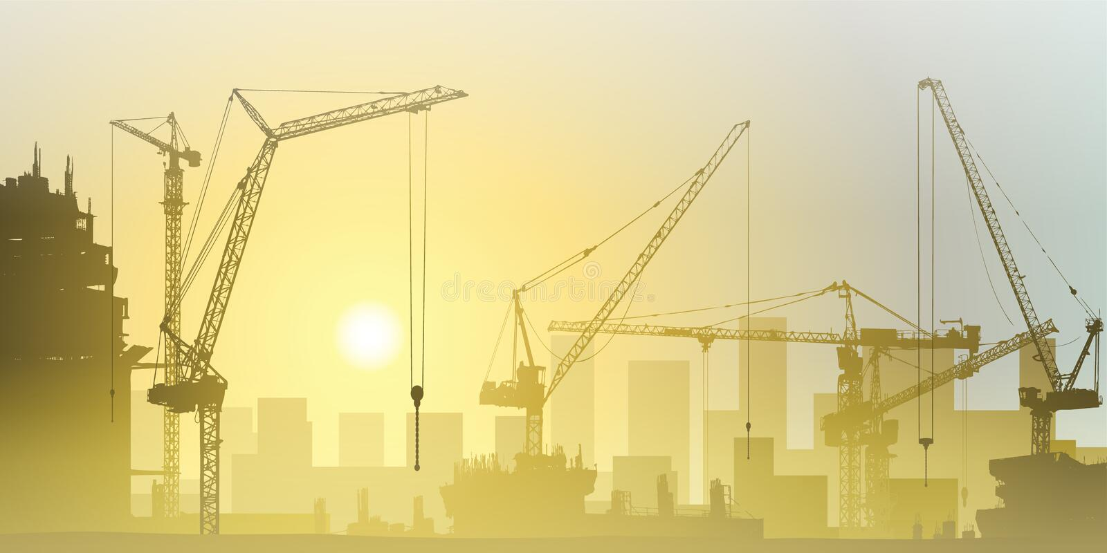 Download Tower Cranes stock vector. Image of steel, lift, vector - 26444850