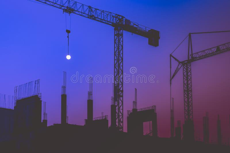 Tower Cranes on a construction site stock photography