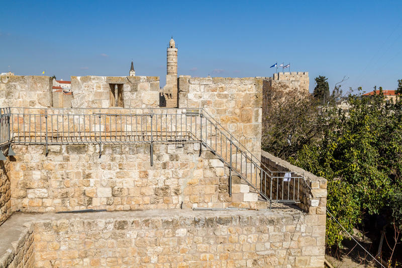 The Tower of David and Old City Walls of Jerusalem, Israel stock image