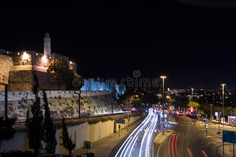 Tower of David at night. Old city of Jerusalem at night, Israel stock image