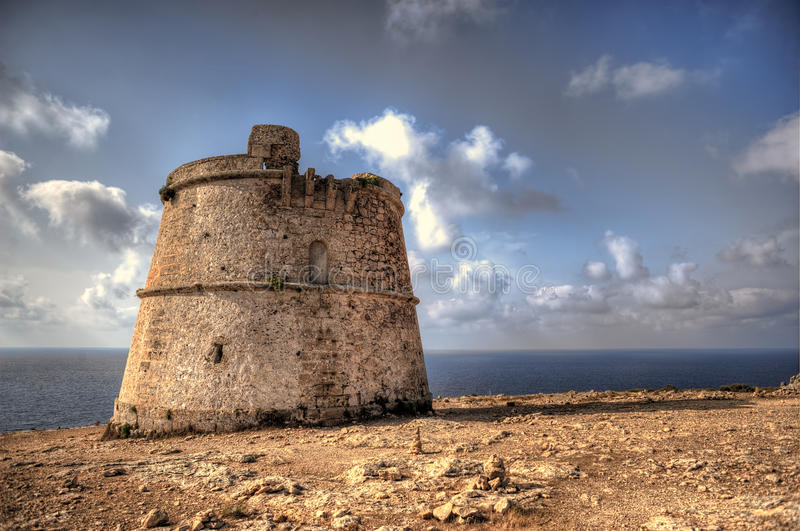 Tower of defense of es cap de barbaria in formentera royalty free stock photography