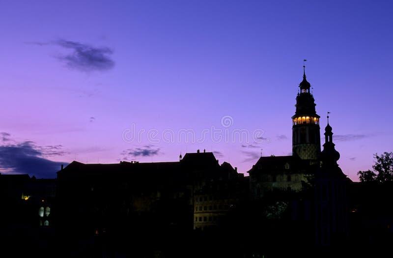 tower den tjeckiska republiken för klockachateauen arkivbilder