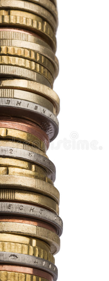 Tower of different euro coins in close up shot royalty free stock image