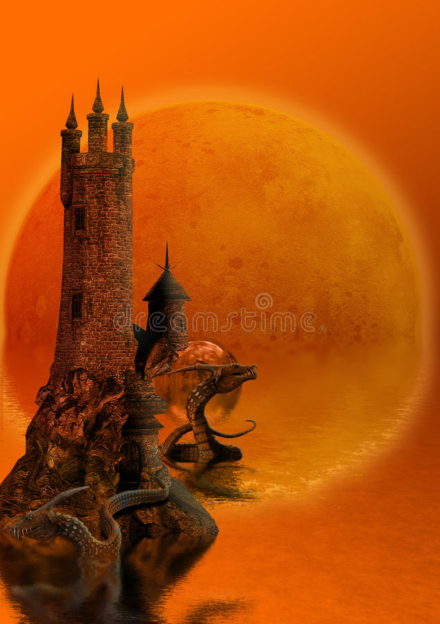 Tower and dragons royalty free illustration