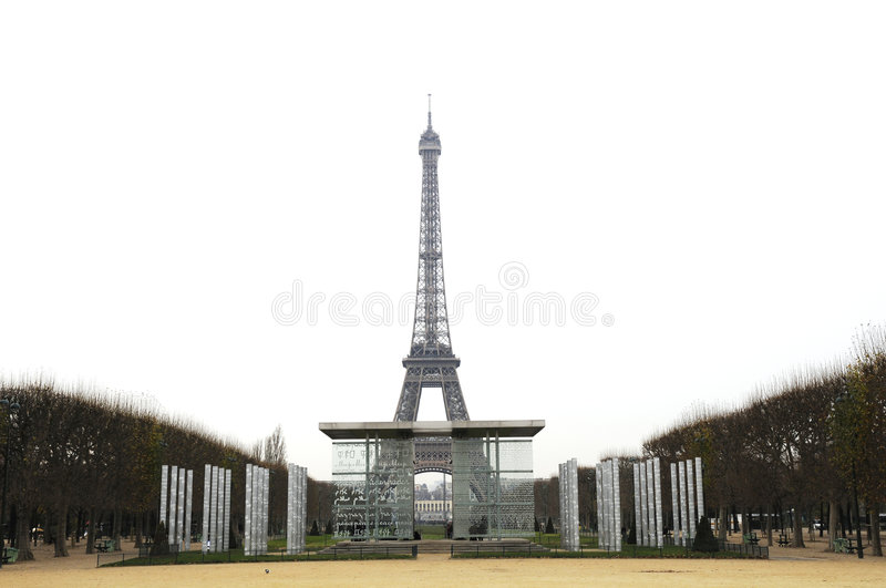 Tower eiffel and the peace wall stock photo