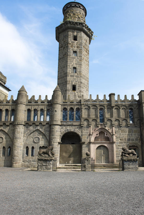 Tower and entrance of Lions Castle Kassel Wilhelms. Lions Castle built in baroque and romantic style is listed in UNESCO World Heritage stock photography