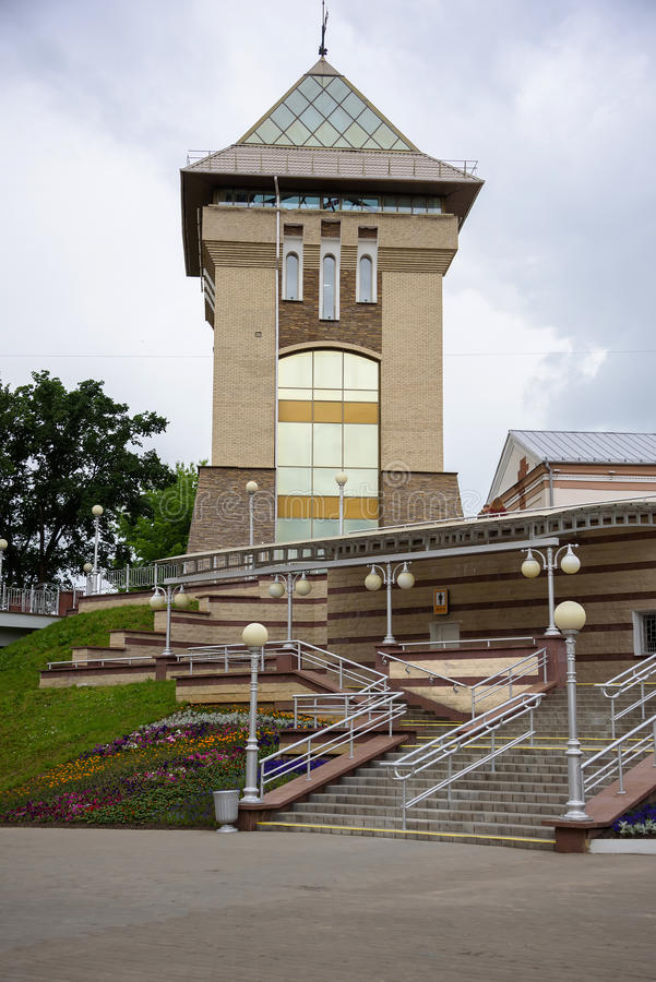 The tower at the entrance to the concert hall royalty free stock photo