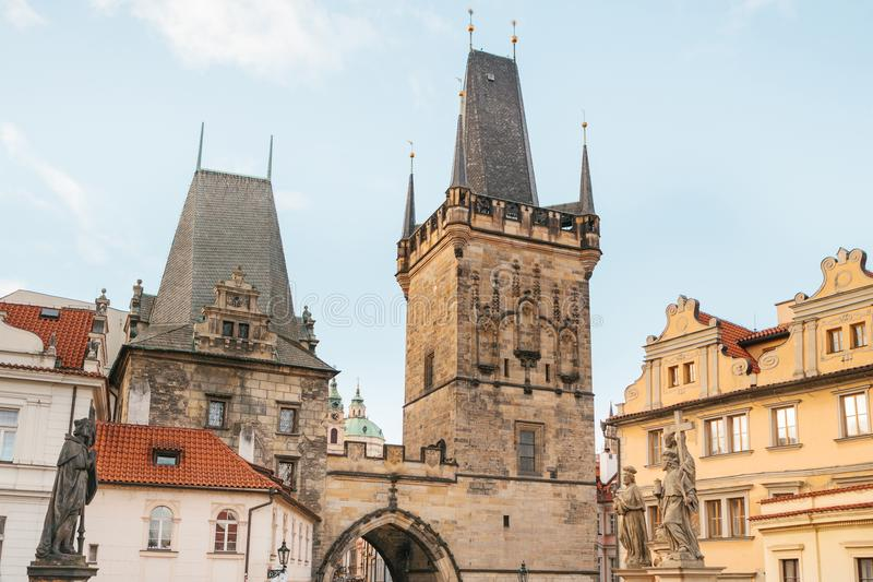 The tower at the entrance to the famous Charles Bridge in Prague in the Czech Republic. It is a medieval bridge across stock photography