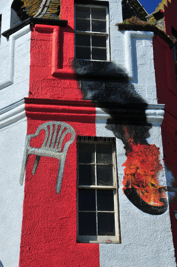 Tower Fire in John'o Groats Hotel. Tower Fire in John 'O Groats Hotel, Caithness, Scotland, UK. Street Artist Paint the Hotel. Publicist for the new Hotel which royalty free stock photo