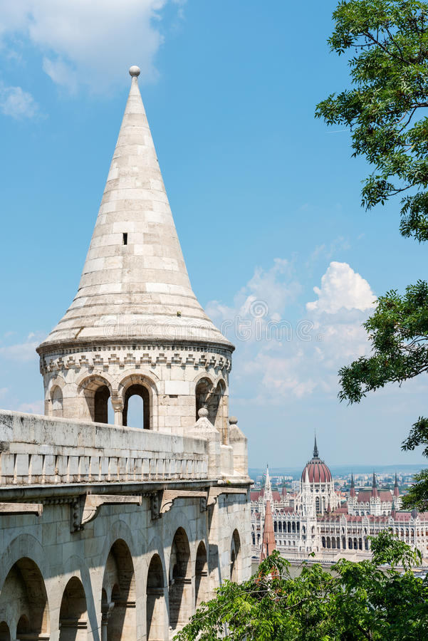 Tower of the Fishermen's Bastion, Budapest royalty free stock photography