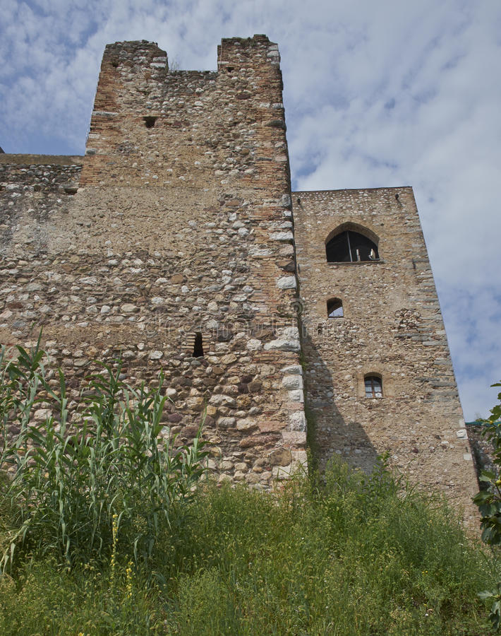 Tower with fortification walls royalty free stock photos